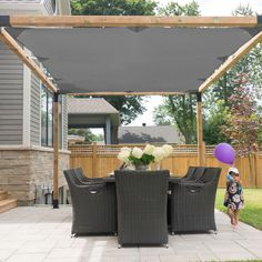 The pergola kits are the easiest and quickest way to build a garden pergola. There are lots of do it yourself pergola kits available to you so that anyone could easily put them together to construct a new structure at their backyard. Pergola Attached To House, Pergola With Roof, Cheap Pergola, Covered Pergola, Outdoor Pergola, Backyard Pergola, Outdoor Decor, Cozy Backyard, Patio Shade