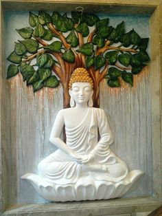 """""""Meditation is like a gym in which you develop the powerful mental muscles of calm and insight. Budha Painting, Ganesha Painting, Tanjore Painting, Mural Painting, Paintings, Clay Wall Art, Mural Wall Art, Murals, Clay Art"""