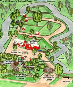 The Children's Animal Farm - A Map of the Farm Garden Log Cabins, Fun Stuff, Stuff To Do, Bush Garden, Farm Business, Maps For Kids, Tourist Map, Farm Signs, Information Center