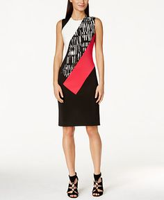 Calvin Klein Printed Colorblock Sheath Dress - Dresses - Women - Macy's