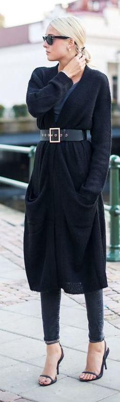 Gina Tricot Black Knit Long Line Cardi