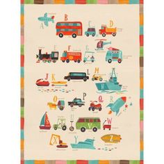 Free Shipping. Buy Oopsy Daisy - Transportation A to Z Canvas Wall Art 14x18, Irene Chan at Walmart.com