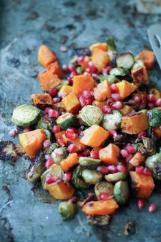 Delicious brussels sprouts and butternut squash tossed irresistible chili-maple sauce then roasted to perfection. Topped with sweet pomegrante seeds, zesty gorgonzola and crunchy pecans or walnuts if you'd like.