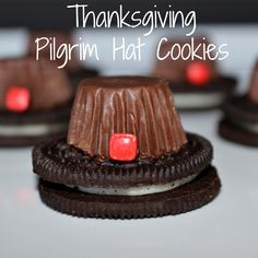 Thanksgiving is here and if you know me than you know what that means – Holiday Themed Dessert!!!  What's more fun than a super cute craft that you can eat!  Talk about playing with your food!!!  Well, my Halloween Witches Hats were a huge hit, so I thought I would take a stab at Thanksgiving …