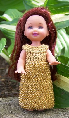 Kelly 4 1/2  Doll Gold Long Dress Gown with Gold Seed Beads Crocheted