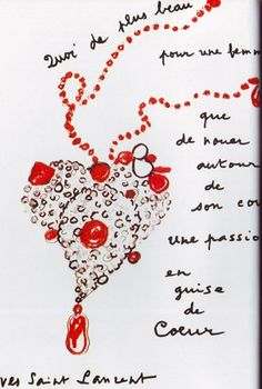 1962 - The Yves Saint Laurent 'heart' necklace - sketch