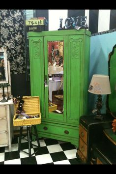 We had a great run with this green and it made this antique chifferobe cabinet really make a statement.