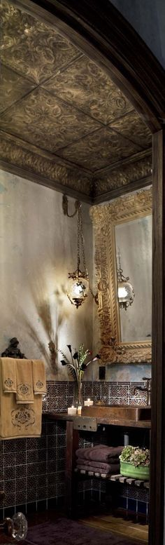 Tin ceiling in powder room