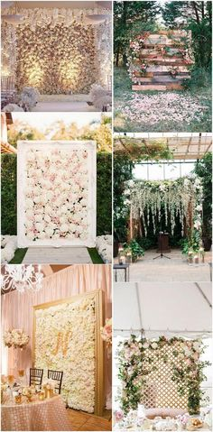 romantic flower wall wedding backdrop ideas #weddingdecor #weddingceremony #weddingideas