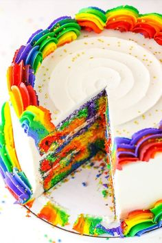 Rainbow Swirl Cake made with three layers of homemade rainbow cake, then decorated with rainbow swirl frosting around the edges! An amazing birthday cake! Rainbow Swirl Cake, Rainbow Frosting, Rainbow Cakes, Rainbow Desserts, Rainbow Treats, Easy Desserts, Strudel, Cupcake Recipes, Cupcake Cakes