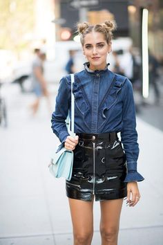 27 Stylish Denim Outfits That Are Basically Life Goals: Ruffled Denim Shirt and Vinyl Skirt