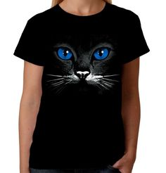 c0ff817a2 Details about Velocitee Ladies T-Shirt Blue Eyes Cat Face Fashion Feline  Kitty Cute A17601