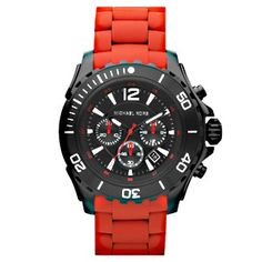 Michael Kors Men's Chronograph Red Silicone Wrapped Watch