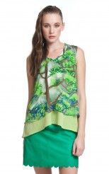 Forest Print Double Layered Tank | Tracy Reese