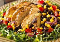 Southwestern Grilled Chicken Salad Why it's a power salad: Get full on protein, fiber, and flavor with this Tex-Mex Salad. The combo of black beans, corn, and lettuce provides more than one-third of your daily dose of fiber.