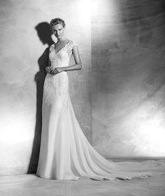 Vital, Brautkleid mit Spitze, V-Ausschnitt, romantischer Stil