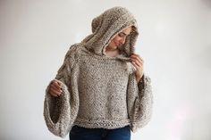 Capalet de Tweed Beige Angel suéter con capucha tamaño y por afra