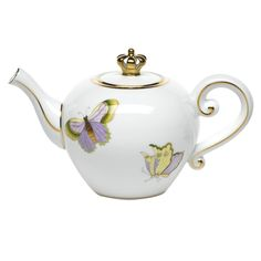 Herend Royal Garden teapot limited edition version for Kate, Duchess of Cambridge with butterflies decoration, crown as knob instead of butterfly, gold edging on rim, handle, spout and lid, 2012, porcelain, Hungary
