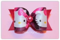HKitty  Designer Inspired  Bow with Matching by BellasDogBows, $5.75