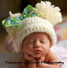 Baby Hat Beige Crochet with Pom Poms by inamood on Etsy. $15.00 USD, via Etsy.