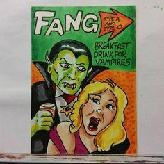 ORIGINAL ART SKETCH CARD WACKY PACKAGES FANG DRINK FOR VAMPIRES FAN ART SCHERES  | eBay