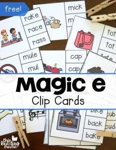 16 FREE Magic e Clip Cards - This Reading Mama