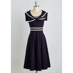 Nautical Long Sleeveless A-line Pleasing to the Aye Dress by Stop... ($190) ❤ liked on Polyvore featuring dresses, apparel, blue, fashion dress, sleeveless dress, sailor dress, stop staring dress, sleeveless collared dress and nautical dress