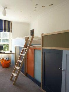 2 lits Kura Ikea: le fond (pied) des lits a été supprimé pour créer une plateforme entre les deux lits. Création de portes coulissantes sous les lits + bureau adossé. A compléter avec structure TROFAST.