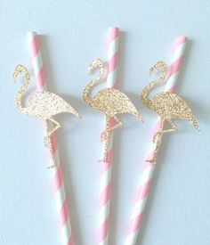 12 Pink and Gold Flamingo themed paper straws  Theses paper straws are so…