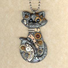 steampunk grey tabby cat necklace