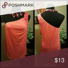 🆕Coral One Shoulder Tank Top Cute one shoulder top with ruffles on the strap. Tag states size XXL but runs small. Will fit size L/XL. Color: Coral  65% polyester/35% rayon Length: 27 inches  Bundle and save! Xhilaration Tops