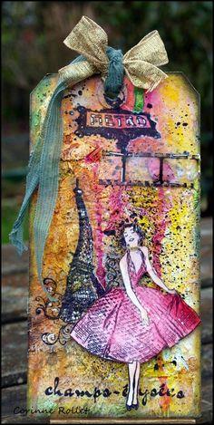 Tag vintage 'Paris' / A vintage tag on Paris... very messy! - Les folies de Coco...
