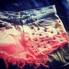 Hippie American flag blue jean cut-off shorts #boho #fashion #style