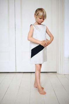Monochrome banded dress by Gravel and Grass for spring 2014 kids fashion
