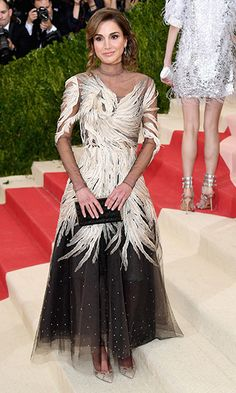 Queen Rania of Jordan was the definition of elegance in a black and white feathered Valentino gown.
