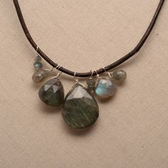 labradorite leather necklace / earthy gemstone necklace / by izuly, $89.00