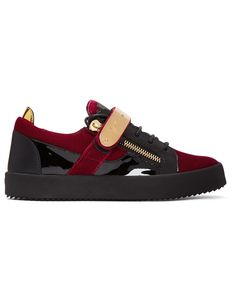 GIUSEPPE ZANOTTI Red & Black Velvet May London Sneakers · VERGLE