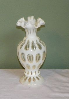 Vintage Fenton Opalescent Coin Spot Dot VASE Glass