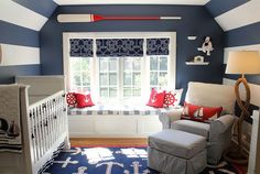 White and dark blue stripes along with decor usher in the nautical look - Decoist