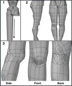 Leg Steps 1 to Beveling down the leg poly- gon. Slicing across the leg and shaping it. Dividing the polygons and moving points at and behind the knee. 3d Model Character, Character Modeling, 3d Human, Human Body, Blender 3d, 3d Face Model, Face Topology, 3ds Max Tutorials, Art Tutorials