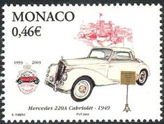Stamp: Mercedes Convertible (Monaco) (Automobiles from the collection of the Prince) Mi:MC Vintage Stamps, Airmail, Monaco, Convertible, Mercedes Benz, Transportation, Automobile, Culture, Collection