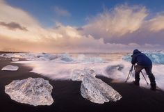 The Photographer - Here you my partner Daniel Cheong during our workshop in iceland at the diamond beach. Shot with Zeiss Milvus 15mm
