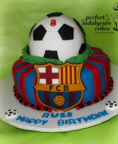 Soccer-Barcelona fan Cake by PerfectIndulgence Soccer Birthday Parties, Football Birthday, Soccer Party, Real Madrid Cake, Barcelona Cake, Football Cupcakes, Soccer Cake, Psg, Sport Cakes