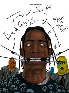 Travis Scott Tattoo, Travis Scott Art, Travis Scott Rodeo, Dope Cartoons, Dope Cartoon Art, Black Cartoon, Travis Scott Iphone Wallpaper, Travis Scott Wallpapers, Astro World Travis Scott