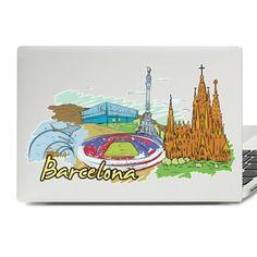Barcelona Illustration Laptop Skin Sticker Laptop Stickers, Laptop Skin, Macbook, Vinyl Decals, Barcelona, Illustration, Illustrations, Barcelona Spain