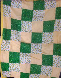 Vintage Cotton Spring Yellow and Green Lap Quilt, Vintage Quilt, Vintage Bedding, Vintage Linens, Quilted Linens, Cotton Quilt by LakesideVintageShop on Etsy