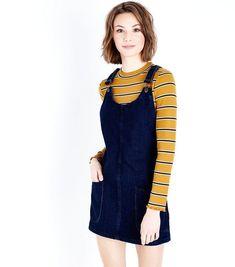 Blue Dark Wash Denim Pinafore Dress | New Look