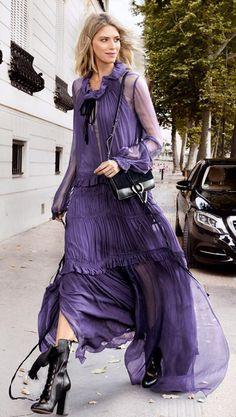 Lena Perminova - bohemian #Chloe dress #streetstyle
