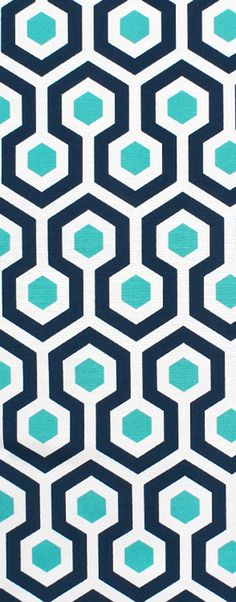 Pretty for patio! Navy and Turquoise / aqua blue Premier Prints Outdoor Magna Oxford Fabric. #geometric #honeycomb #homedecor #Sewing
