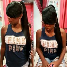 Mature Extended Ponytail With Bang Long Ponytail Hairstyles, Bangs Ponytail, Hair Ponytail Styles, Cute Ponytails, Mom Hairstyles, Sleek Ponytail, Fringe Hairstyle, Invisible Ponytail, Extended Ponytail